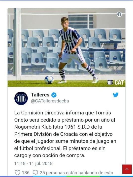 Tomás Oneto jugará en Croacia, fútbol que disputará la final de la Copa del Mundo