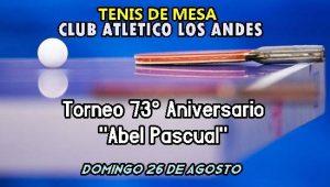 Dentro de las actividades en el mes aniversario, Los Andes organiza un Torneo de Tenis de Mesa