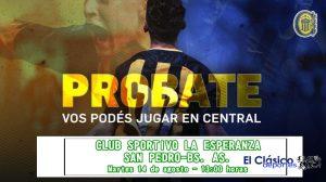 Club La Esperanza: Prueba de jugadores con Rosario Central