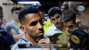 A 45 minutos del horario que puso la Conmebol los jugadores de Boca hablan con la prensa