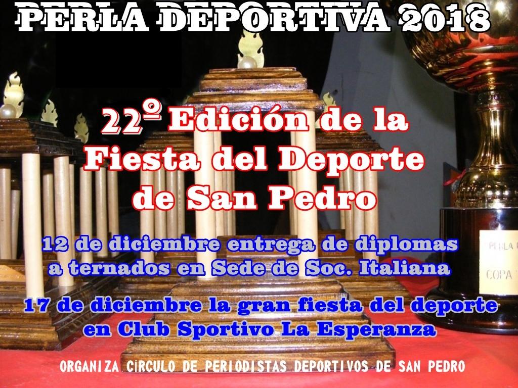 Están las ternas para la 22° fiesta del deporte «Perla Deportiva»