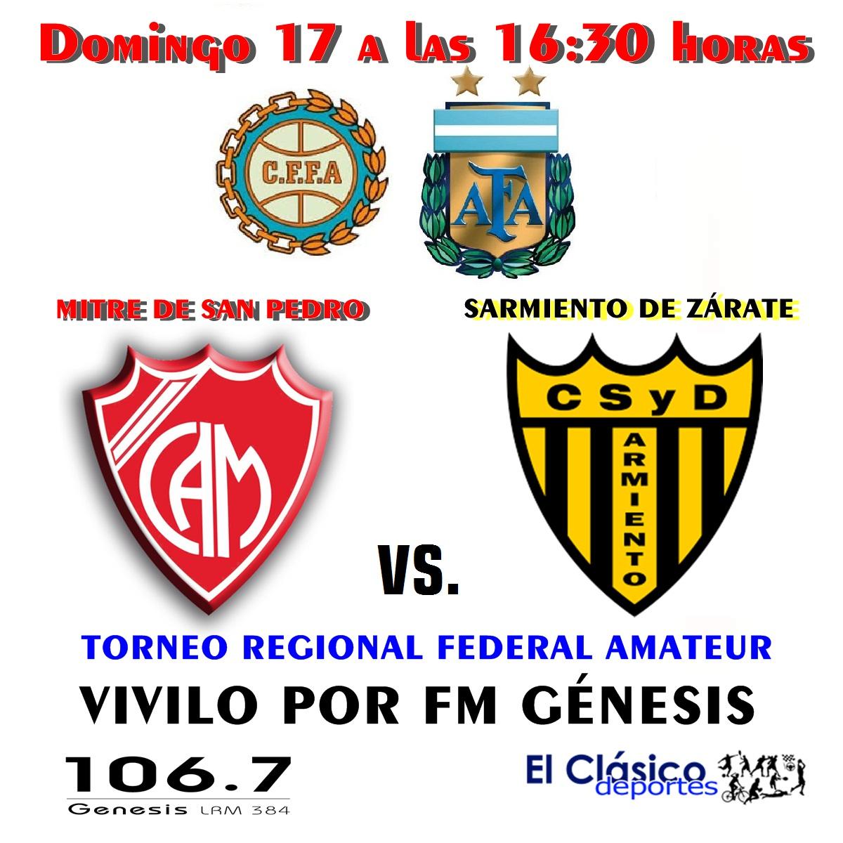 Torneo Regional Federal Amateur: Mitre ante Sarmiento vivilo por FM Génesis