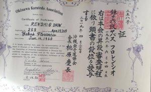 Florencio Yabas recibió el Diploma de 6° Dan