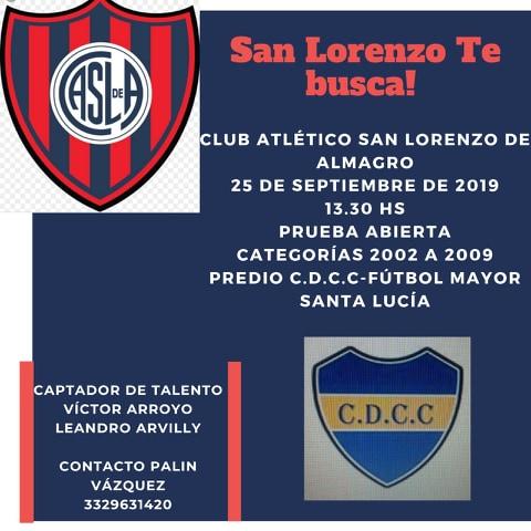 San Lorenzo probará jugadores en Santa Lucia