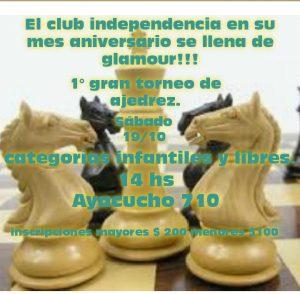 Por el aniversario, se juega un certamen rápido de ajedrez en Independencia FC