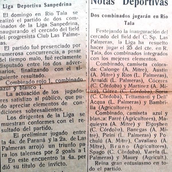 Los primeros seleccionados liguistas jugaron en Río Tala