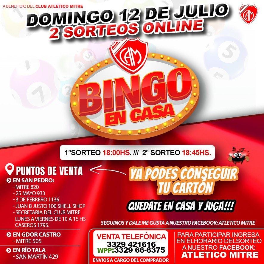Mitre organiza un bingo virtual el próximo domingo
