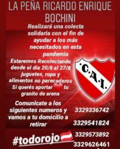 Colecta solidaria de la «Peña Ricardo E. Bochini»