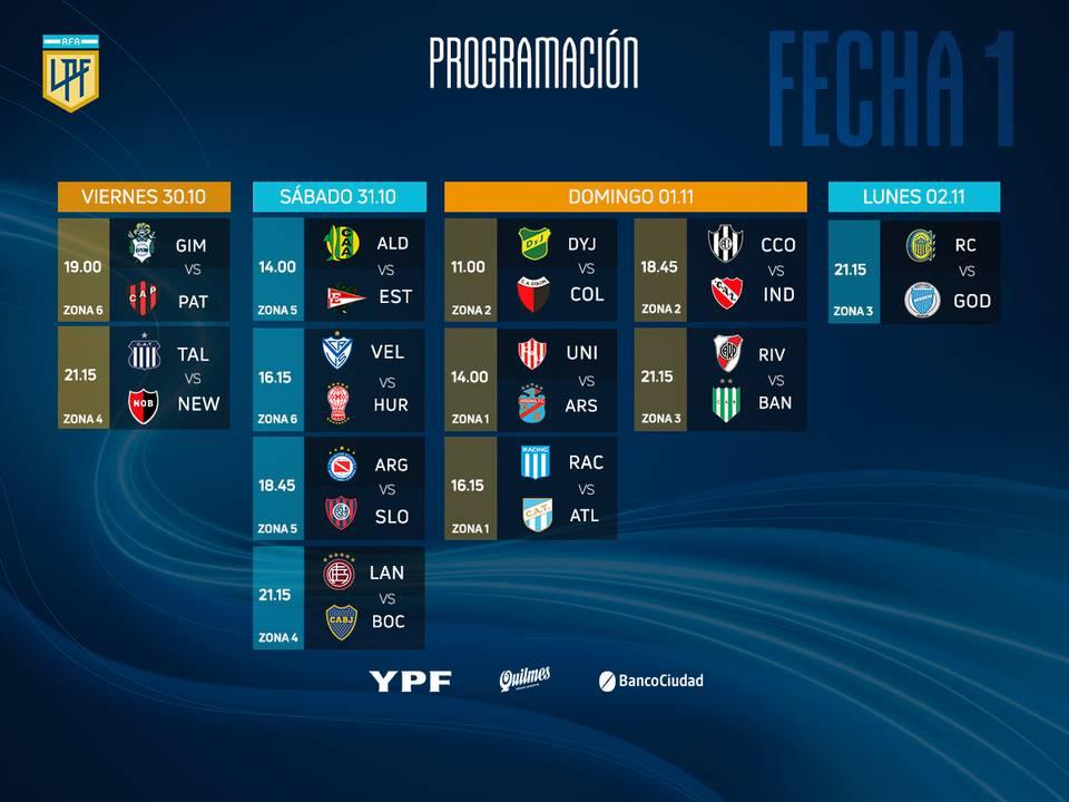 Liga Profesional: Días y horarios de la primera fecha