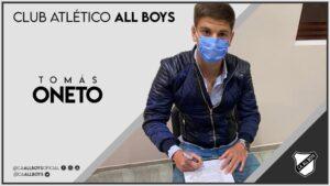 Tomás Oneto es nuevo jugador de All Boys