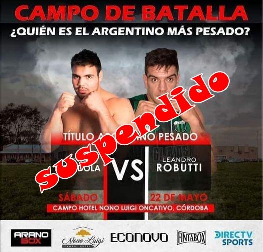 Por las medidas actuales del Gobierno Nacional, fue suspendida la pelea Espíndola-Robutti en Córdoba